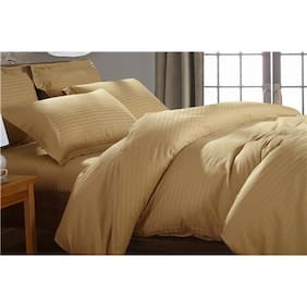 Fresh From Loom Satin Striped Single Size Bedsheet ( 1 Bedsheet With 1 Pillow Covers , Brown )