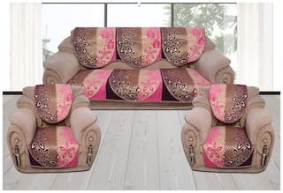 Fresh From Loom Sofa Cover Set for 5 Seater Sofa;500 TC Velvet Fabric Premium Quality;Color Pink and Purple