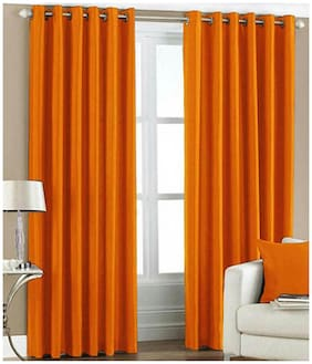 Fresh From Loom Orange Polyester Long Door Curtain-Set Of 2