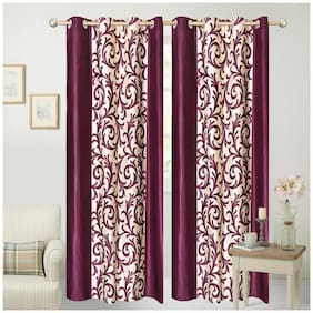 Fresh From Loom Maroon And White Polyester Long Door Curtain-Set Of 2