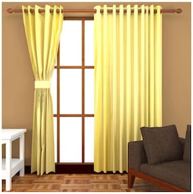 Fresh From Loom Yellow Polyester Door Curtain - Set of 2