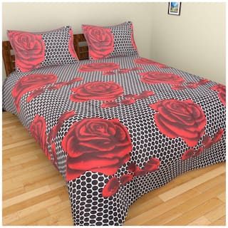 Fresh From Loom Cotton Floral Single Size Bedsheet ( 1 Bedsheet With 1 Pillow Covers , Multi )
