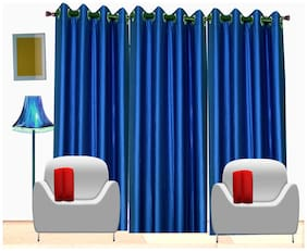 Fresh From Loom Blue Plain Polyester Door Curtain -Set Of 3