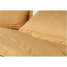 Fresh From Loom Cotton Striped Double Size Bedsheet ( 1 Bedsheet With 2 Pillow Covers , Brown )