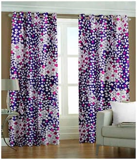 Fresh From Loom Purple Polyester Door Curtain - Set of 2