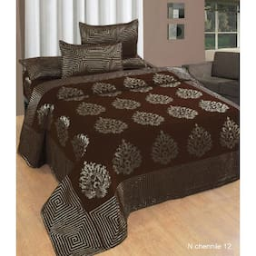 Fresh From Loom Chenille Abstract Double Size Bedsheet ( 1 Bedsheet With 2 Pillow Covers , Brown )