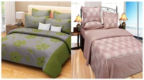 Fresh From Loom Multi Color Cotton Double Bed Sheets Combo