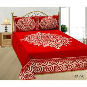 Fresh From Loom Velvet Double Bedsheet With 2 Pillow Cover