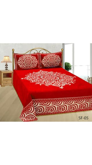 Fresh From Loom Chenille Abstract Double Size Bedsheet ( 1 Bedsheet With 2 Pillow Covers , Red )