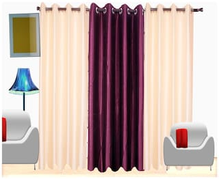 Fresh From Loom Plain Polyester Door Curtain - Set Of 3