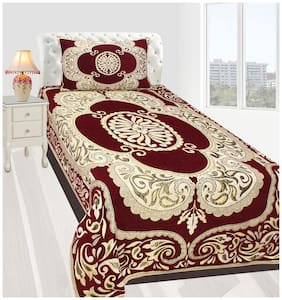 Fresh From Loom Velvet Abstract Single Size Bedsheet ( 1 Bedsheet With 1 Pillow Covers , Maroon )