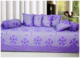 Fresh From Loom Cotton Purple Diwan Set - 8 pcs