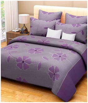 Fresh From Loom Cotton Purple And Green Bedsheet And Pillow Covers - Set Of 2