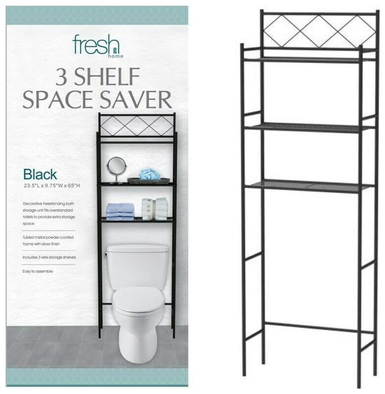 Black 3 Shelf Etagere Bathroom Space Saver