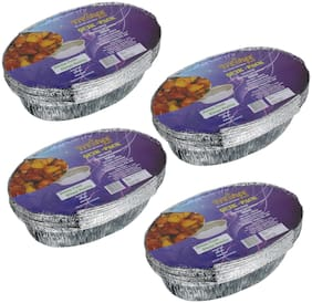 Freshee 10 pcs Strong Disposable Aluminium Silver Foil Container 600ml (Pack of 4)