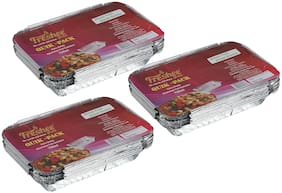 Freshee 10 pcs Strong Disposable Aluminium Silver Foil Container 750ml (Pack of 3)