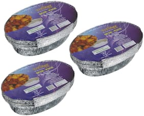 Freshee 10 pcs Strong Disposable Aluminium Silver Foil Container 600ml (Pack of 3)