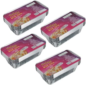 Freshee 10 pcs Strong Disposable Aluminium Silver Foil Container 660ml (Pack of 4)