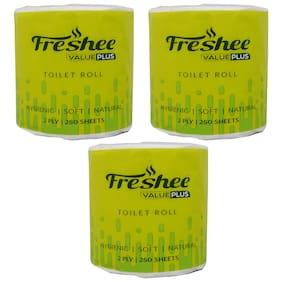 Freshee 100Gm Roll 2 Ply Virgin Fiber Tissue Pack Of 3 Value Plus Range That Offer Fresh Soft And Hygienic Experience
