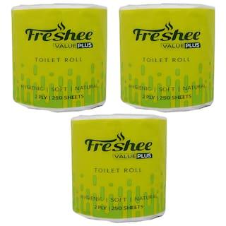 Freshee 100Gm Roll 2 Ply Virgin Fiber Tissue Pack Of 3 Value Plus Range That Offer Fresh Soft And Hygienic Experience