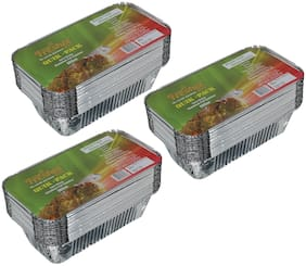 Freshee 25 pcs Strong Disposable Aluminium Silver Foil Container 660ml (Pack of 3)