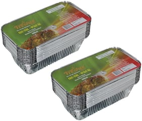 Freshee 25 pcs Strong Disposable Aluminium Silver Foil Container 660ml (Pack of 2)
