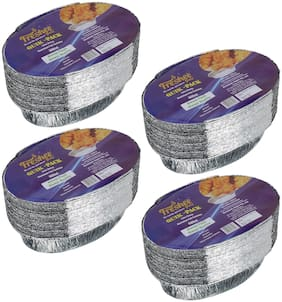 Freshee 25 pcs Strong Disposable Aluminium Silver Foil Container 600ml (Pack of 4)