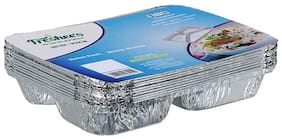 Freshee 3 Compartment Aluminiun Foil Container 10 pcs| 61 Micron Thik| Premium Quality Disposable Food Serving Dishes(Pack of 2)