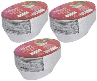 Freshee Aluminium Silver Foil Disposable Containers Pack of 3 x 25pcs