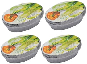 Freshee Aluminium Silver Foil Container 600ml | Food Storage Disposable Containers with Lid For Kitchen | Bacteria Resistant(Pack of 4 - 10pcs each)