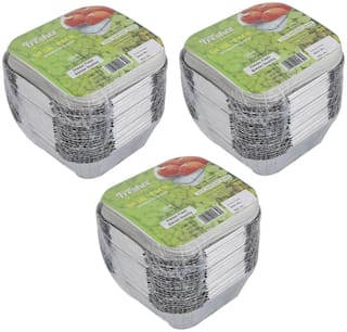 Freshee Aluminium Silver Foil Container 120ml   Food Storage Disposable Containers with Lid For Kitchen   Bacteria Resistant(Pack of 3 - 25pcs each)