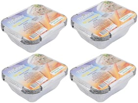 Freshee Aluminium Silver Foil Container 450ml | Food Storage Disposable Containers with Lid For Kitchen | Bacteria Resistant(Pack of 4 - 10pcs each)