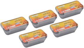 Freshee Aluminium Silver Foil Container of 660ml | Food Storage Disposable Containers with Lid For Kitchen | Bacteria Resistant(Pack of 5 - 10pcs each)