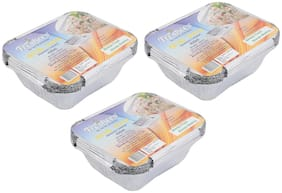 Freshee Aluminium Silver Foil Container 450ml | Food Storage Disposable Containers with Lid For Kitchen | Bacteria Resistant(Pack of 3 - 10pcs each)