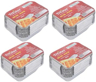 Freshee Aluminium Silver Foil Container 250ml   Food Storage Disposable Containers with Lid For Kitchen   Bacteria Resistant(Pack of 4 - 25pcs each)