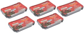 Freshee Aluminium Silver Foil Container 750ml | Food Storage Disposable Containers with Lid For Kitchen | Bacteria Resistant(Pack of 5 - 10pcs each)