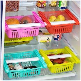 Fridge storage racks, Adjustable Refrigerator Basket, for vegetable & fruits (4Pc) Multicolor