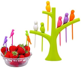 Fruit Fork Decorative Bird Tree Set for Dining Table with 6 Bird Shape Fork (Color Sent As Per Stock Availability)
