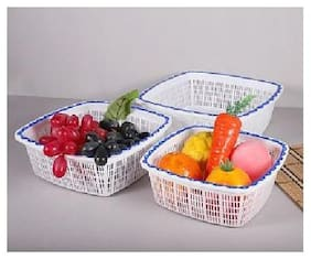Fruit Plastic Basket with Pack of 3