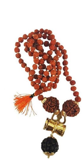 Fully Best Quality Nepal bead kantha Mala / japa Mala / Rudraksha Trishul Mala For Men Beads Wood;Metal Chain
