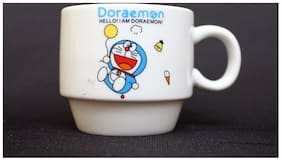 FunkyTradition Small Doraemon Ceramic Tea/Coffee Cup or Mug Set of 4 with 150 ml Capacity Per Cup