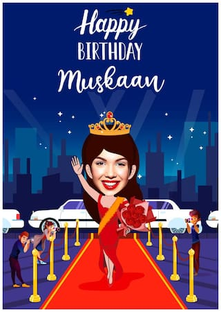 funny birthday caricature for her online