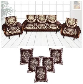 Furnishing Zone Classic Combo Brown 5 Seater Sofa covers+ 5 Cushion Covers