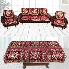 Furnishing Zone Classic Combo Maroon 5 Seater Sofa covers+ 1 Table cover