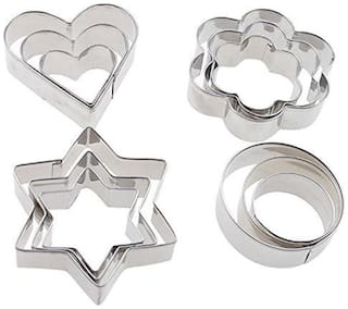 Futaba 12pcs Stainless Steel Cookie Cutters