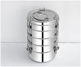 FUTENSILS  Stainless Steel Clip Food Grade Lunch Box | Traditional Tiffin Box for School/Office, 5-Tier-, Capacity-4210ml, Dia-14Cm, Size -9x5