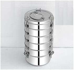 FUTENSILS  Stainless Steel Clip Food Grade Lunch Box,6-Tier,with (Single plate) between each Tier ,Capacity-(5500ml),Dia-(15.5Cm),Size -10X6