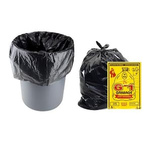 G-1 Medium Disposable Garbage/Dustbin Bags (Black, 8 Packs)