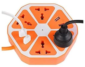 G Gapfill 10Amp Hexagon Extension Board 4 Usb Port & Power Socket Outlet Ports With 2500W Multi-Faceted Safety Sockets
