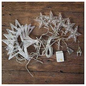 Diwali Star Light Curtain 2.5M 10 Star 138 LED for home Decoration White [Set of 1]